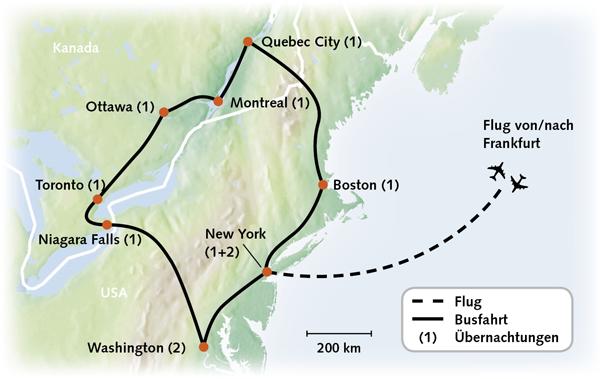 Kanada USA-Ost Karte Reiserouting