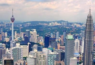Malaysia Kuala Lumpur Skyline von oben