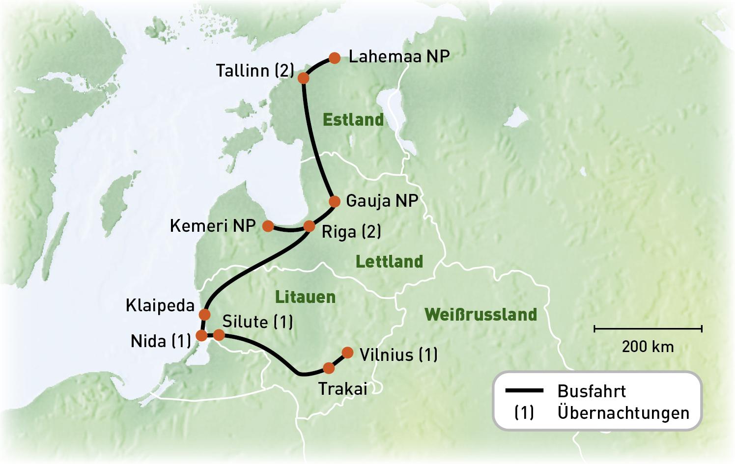 Baltikum - Wanderreise Naturjuwele - Routenkarte