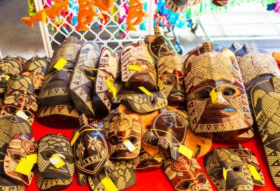 CK_Wooden masks in the local market, Rarotonga, Aitutaki, Cook Islands. With selective focus