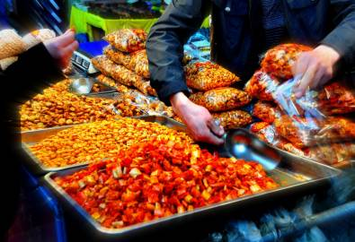 China Köstlichkeiten am Markt