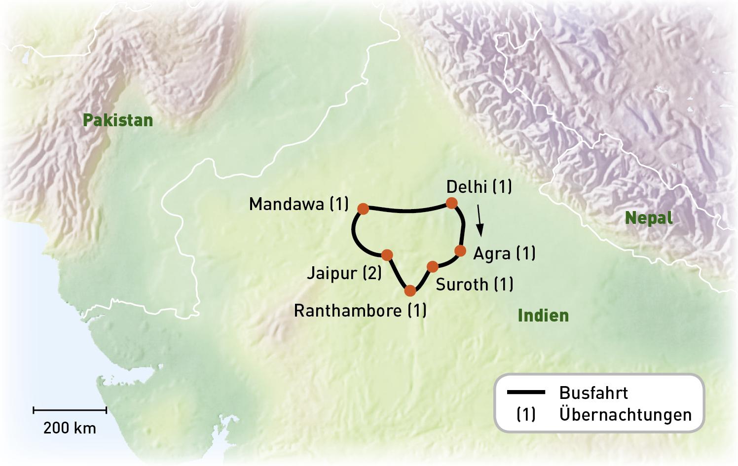 Indien - Goldenes Dreieck - Routenkarte
