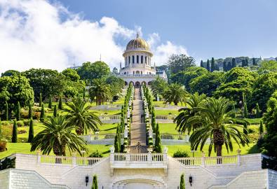 Shrine of the Bab and lower terraces at the Bahai