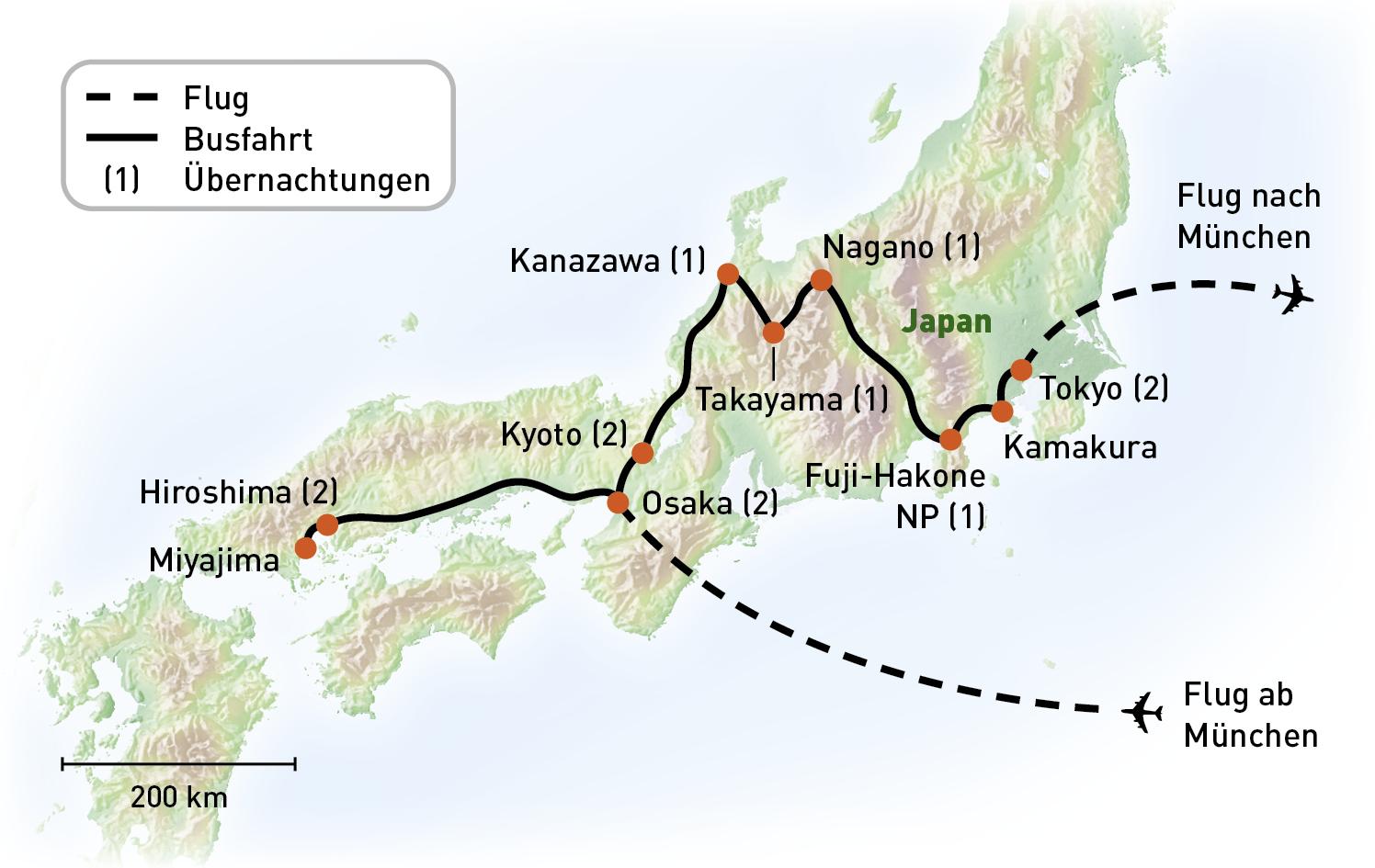 Japan - Kabuki - Routenkarte
