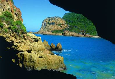 Knysna Heads seen from one of the many caves