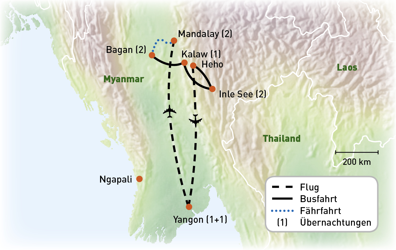 Myanmar - Goldenes Land der Mystik- Routenkarte