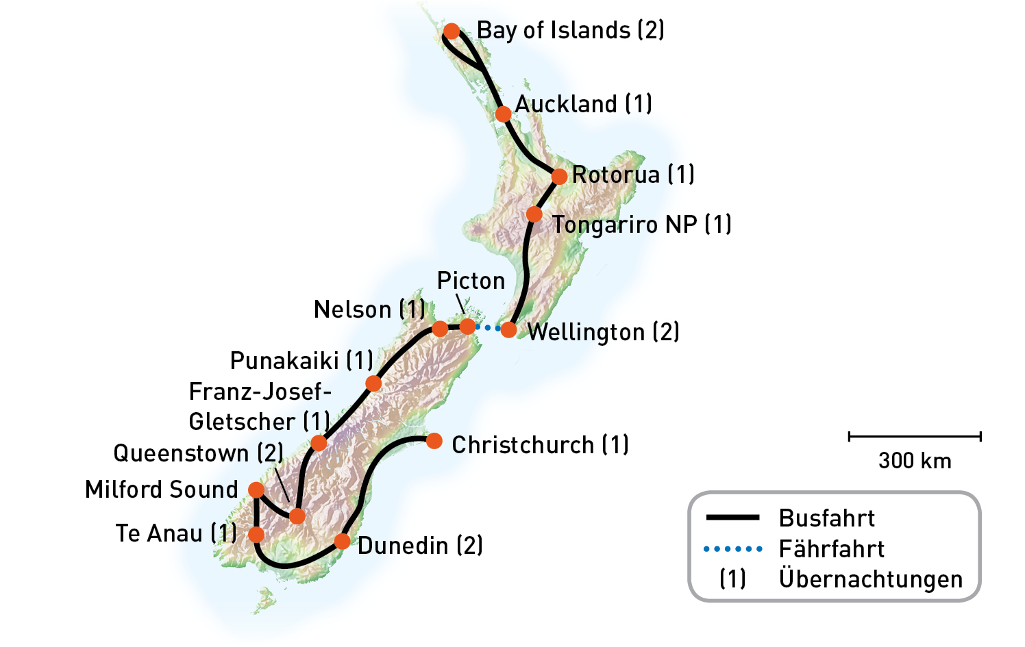 Routenkarte_Neuseeland_FaszinationNeuseeland_KiKa2020_RGB