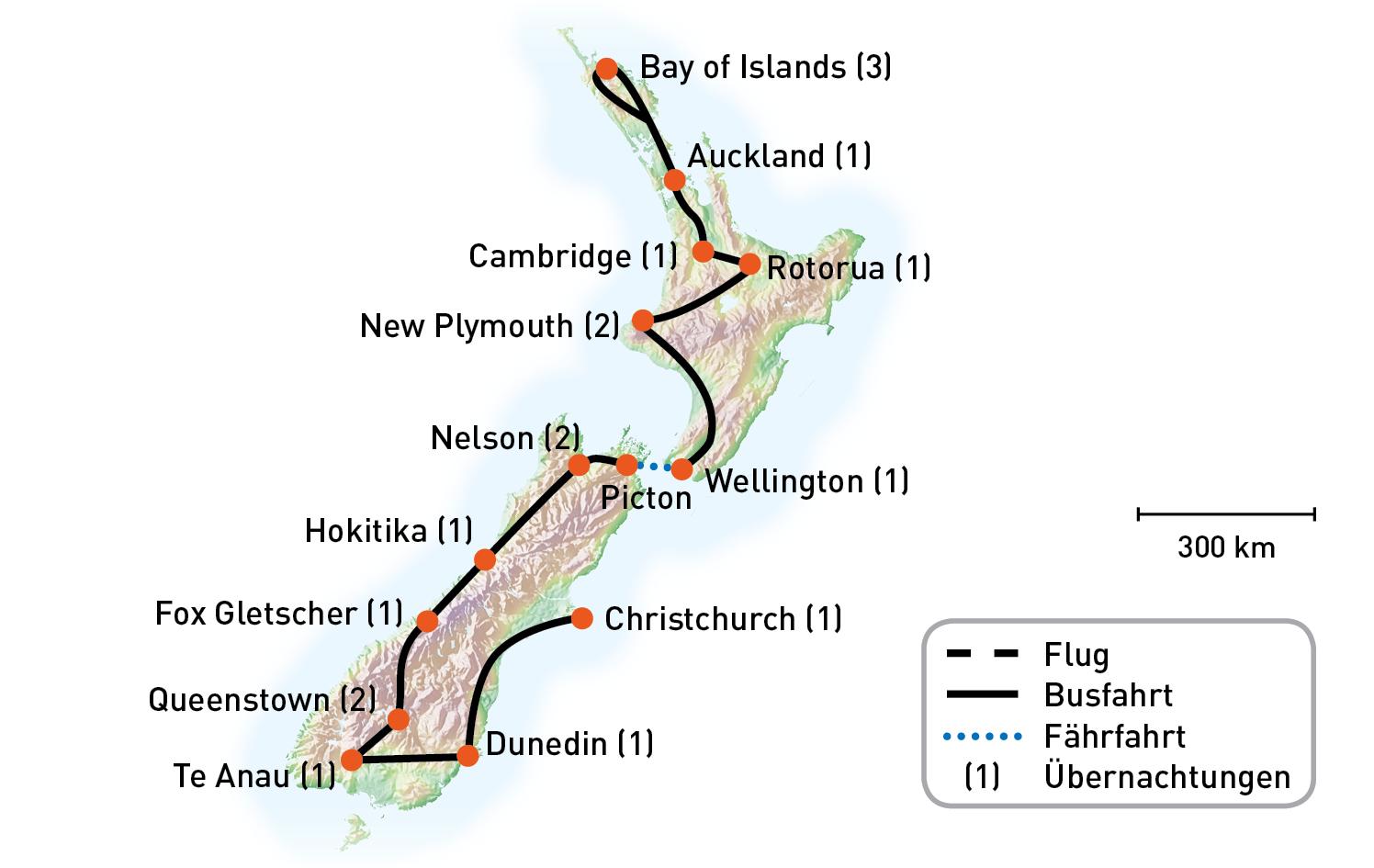 Routenkarte_Neuseeland_NeuseelandDeluxe_KiKa2020_RGB