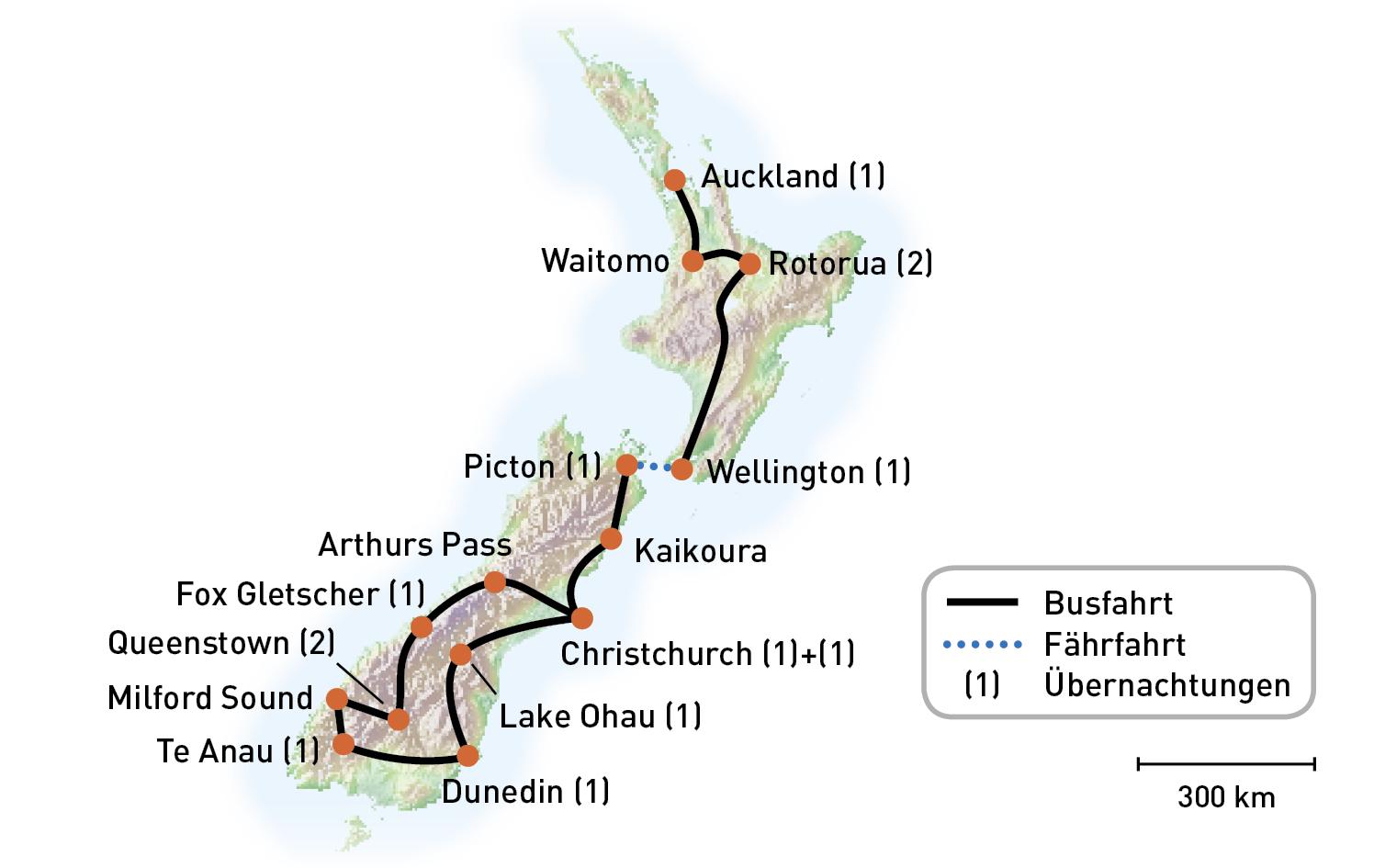 Routenkarte_Neuseeland_VulkaneUndFjorde_KiKa2020_RGB