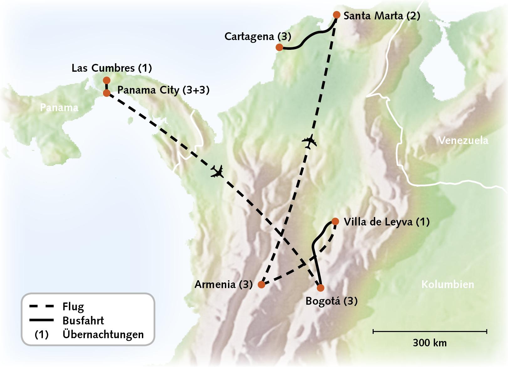 Routenkarte - Panama/Kolumbien