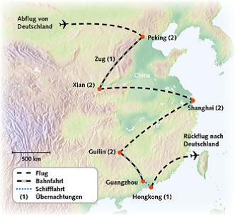 Routenkarte Erlebnis China