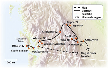 Routenkarte Kanada Aktiv