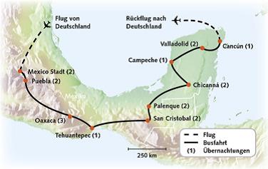 Routenkarte Mexiko Wanderreise