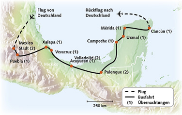 Routenkarte Mexiko