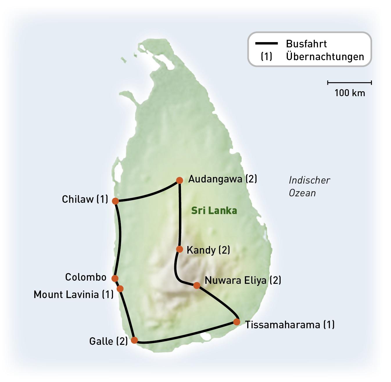 SriLanka - Sri Lanka Exklusiv - Routenkarte