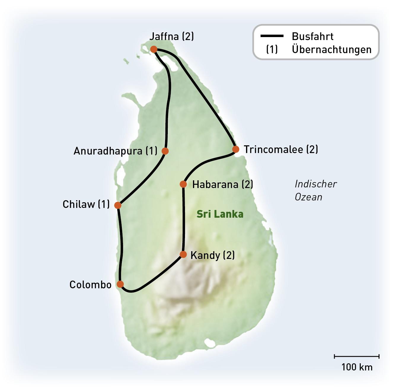SriLanka - UnbekannterNorden - Routenkarte