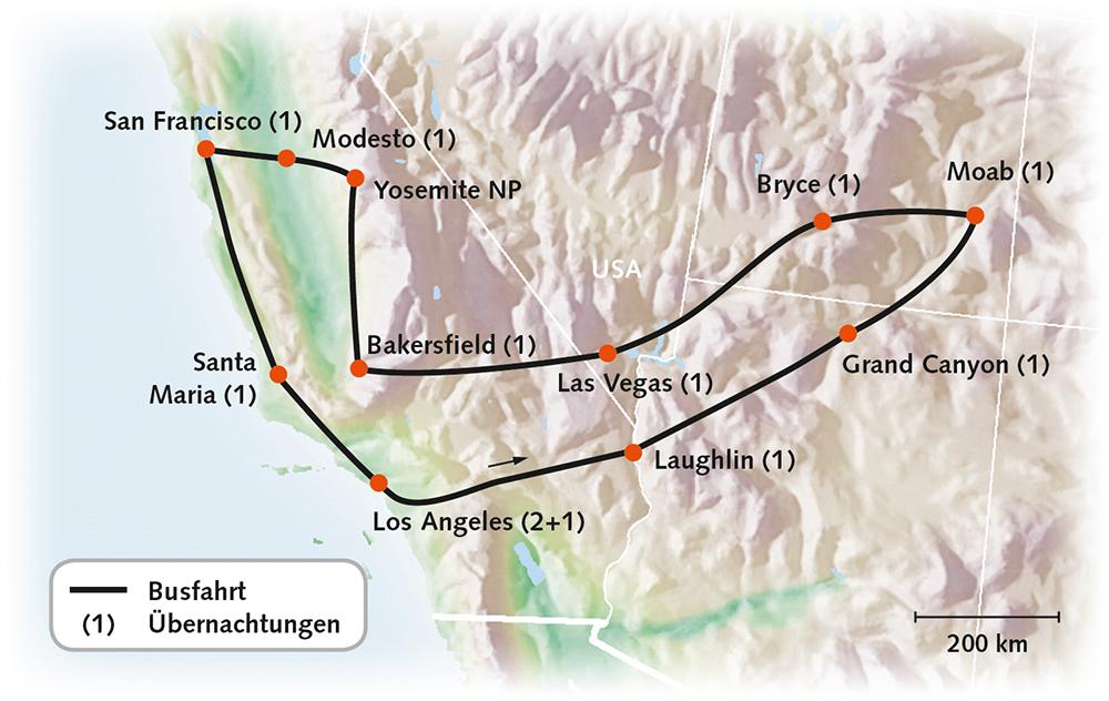 USA West Faszination zwischen Pazifik und Canyon