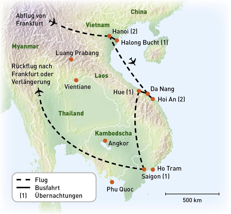 Vietnam - Vietnams Hoehepunkte - Routenkarte