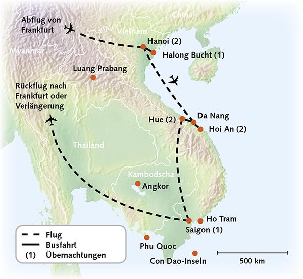 Vietnam Karte Reiserouting