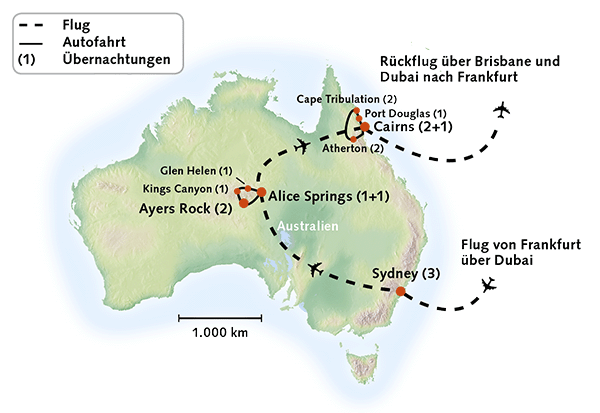 Karte der Australien Rundreise