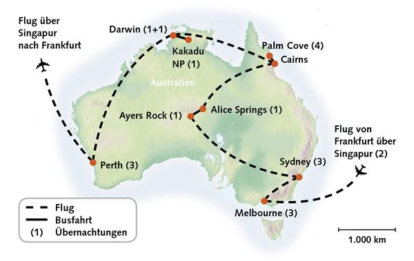 Australien Urlaub Karte - Reiserouting