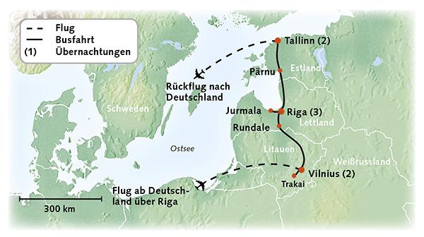 Baltikum Karte Reiserouting