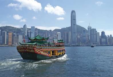 China Honkong Dschunke Skyline