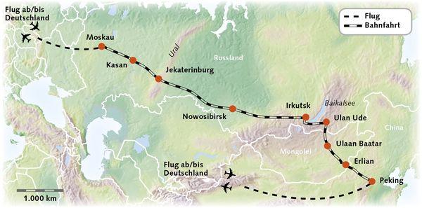 Russland Mogoolei China Karte Reiserouting