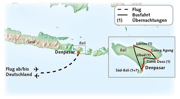 Bali Karte Reiserouting