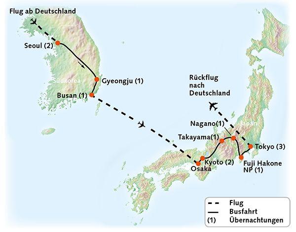 Japan Südkorea Karte Reiserouting