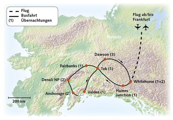 Yukon Alaska Karte Reiserouting