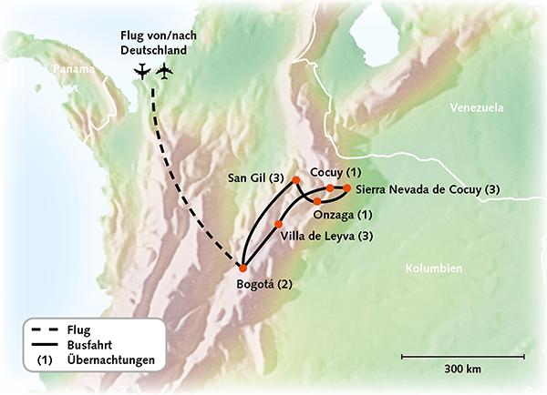 Kolumbien Karte Reiserouting