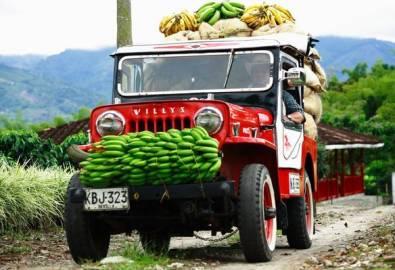 Kolumbien Bananen Jeep