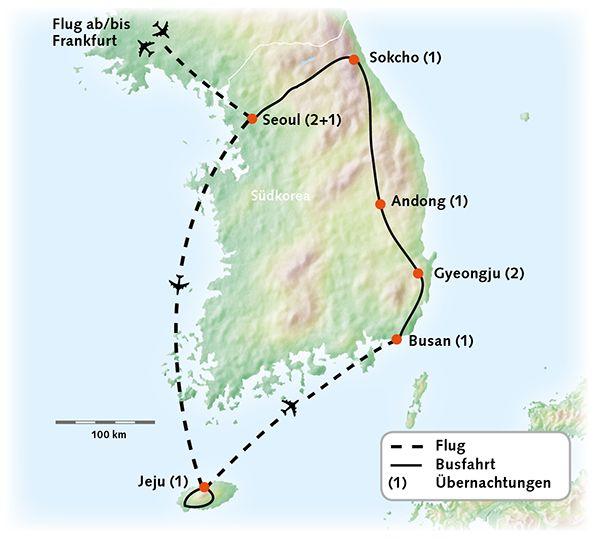 Südkorea Karte Reiserouting