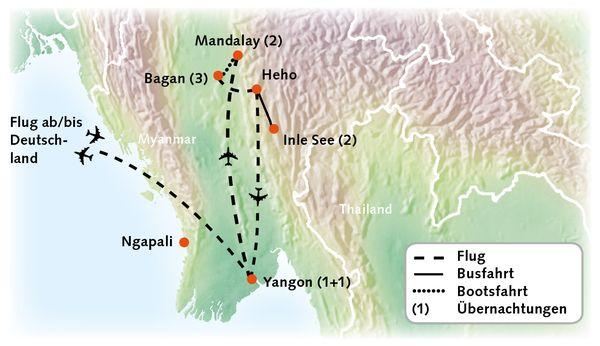 Myanmar Karte Reiserouting