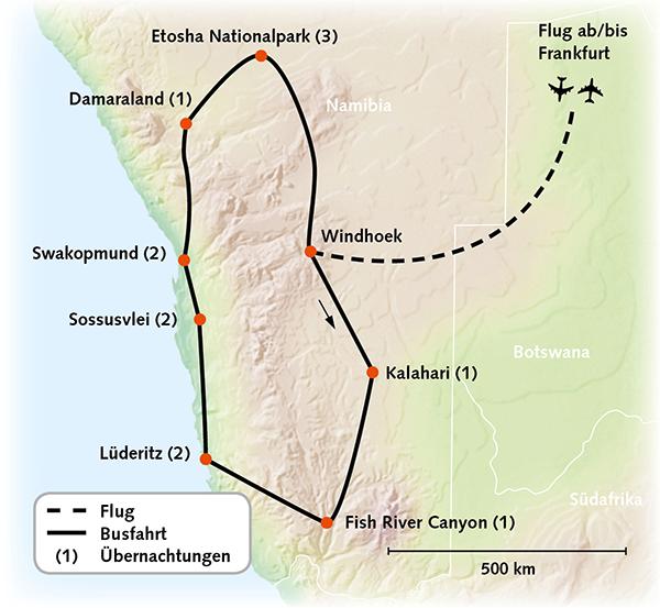 Namibia Karte Reiserouting
