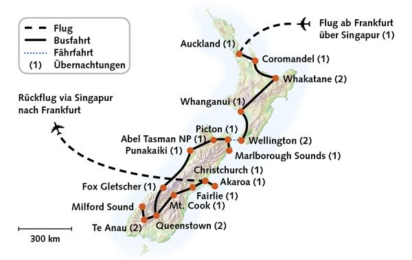 Neuseeland Karte - Traumhafte Vielfalt