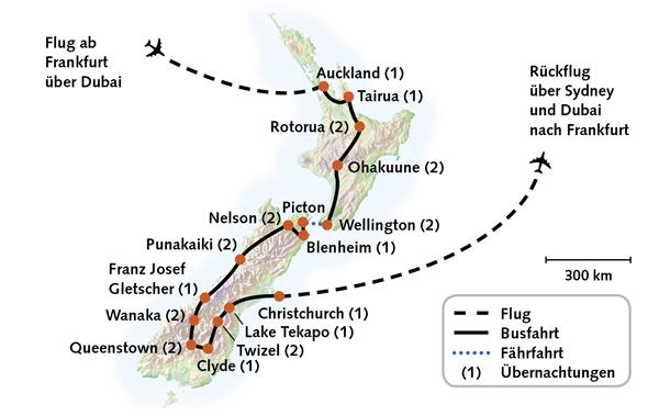 Neuseeland Karte Reiserouting
