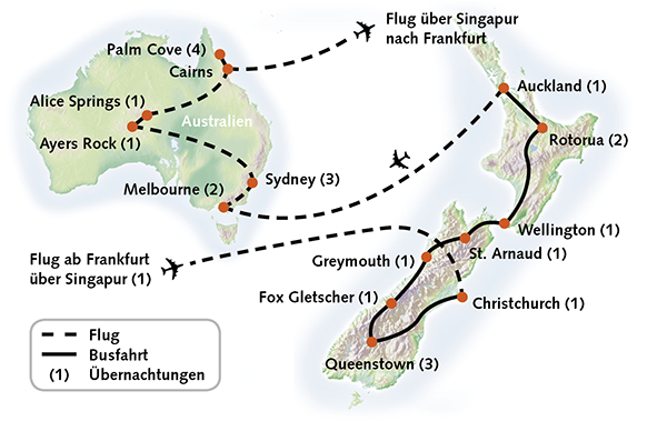 Neuseeland Australien Karte Reiserouting