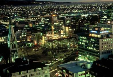 Neuseeland Christchrch bei Nacht