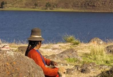 Peru Frau mit Lama