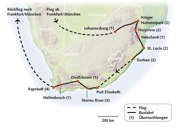 Südafrika Rundreise Karte