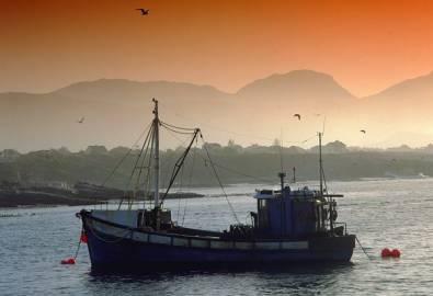 Südafrika Hermanus Boot Sonnenuntrgang