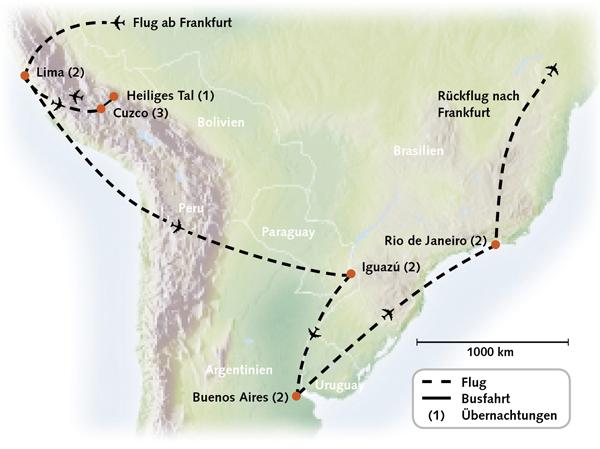 Peru Argentinien Brasilien Karte Reiserouting