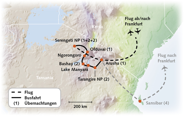 Tansania Karte Reiserouting