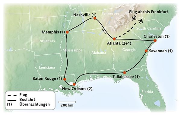 USA Karte Reiserouting